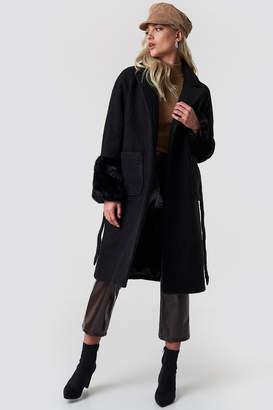 NA-KD Na Kd Oversized Faux Fur Cuff Coat Black