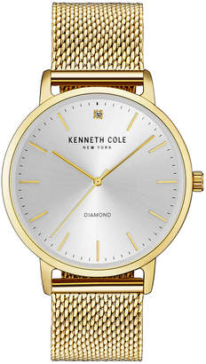 Kenneth Cole New York Men's Diamond-Accent Gold-Tone Stainless Steel Bracelet Watch 42mm $125 thestylecure.com