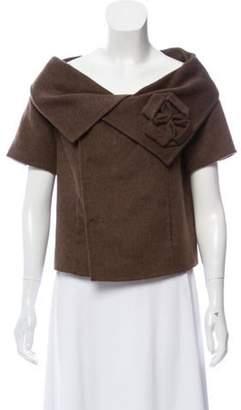 Oscar de la Renta Wool Pleated Cardigan Brown Wool Pleated Cardigan