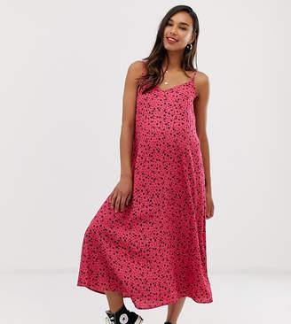 New Look Maternity ditsy midi slip dress in pink pattern