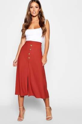 boohoo Petite Mock Horn Button Through Midi Skirt
