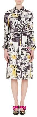 Prada Women's Car-Print Silk Faille Trench Coat