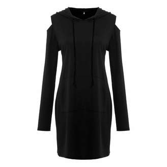 fbb64dc35e73a2 OldSch001-Dress OldSch001 Women s Fashion Cut Out Long Sleeve Mini Hooded  Dress with Pocket(