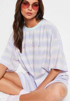 Missguided Pink Tough Titties Striped Oversized T Shirt Dress