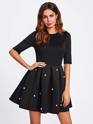 Shein Pearl Beading Boxed Pleated Dress