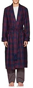 Derek Rose Men's York Plaid Wool Robe - Navy