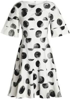 Dolce & Gabbana Flared Paneled Polka-Dot Cotton-Poplin Dress