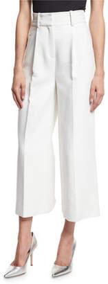 Diane von Furstenberg High-Waist Single-Pleat Culottes, White
