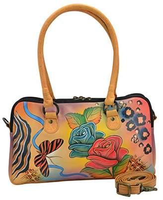 Anuschka Anna by Women's Genuine Leather Satchel | -Compartment | Hand-Painted Original Artwork | Rose Safari