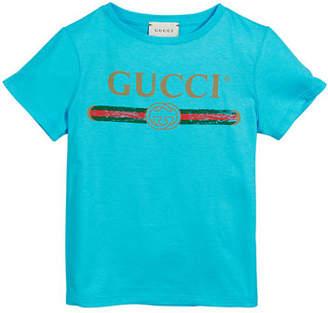 52a12f7d1dea Gucci Girl's Vintage Logo Short-Sleeve Jersey T-Shirt, ...