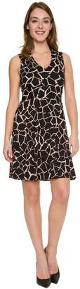 Le Château Women's Abstract Print Knit V-Neck Dress,XS