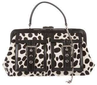 Celine Leather-Trimmed Ponyhair Bag