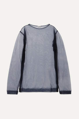 Dries Van Noten Oversized Organza Top - Navy