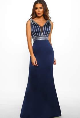 9d7678793517 Pink Boutique Glam Goddess Navy Satin Embellished Maxi Dress