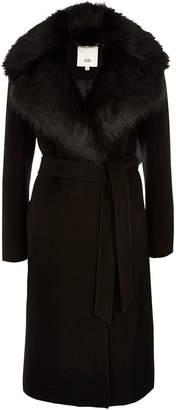 Next Womens River Island Black Faux Fur Trim Coat