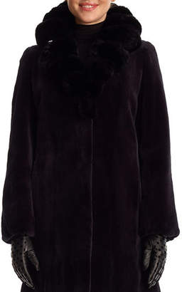 Gorski Sheared Mink Fur Stroller Jacket with Chinchilla Fur Collar