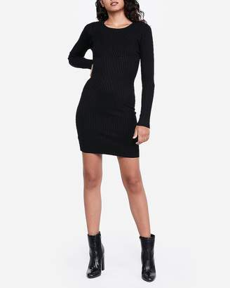 Express Ribbed Long Sleeve Fitted Sweater Dress