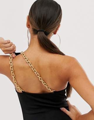 Asos Design DESIGN one shoulder body with gold chain trim back