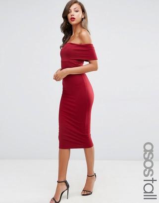 ASOS Tall ASOS TALL Deep Off The Shoulder Bardot Midi Bodycon Dress $34 thestylecure.com