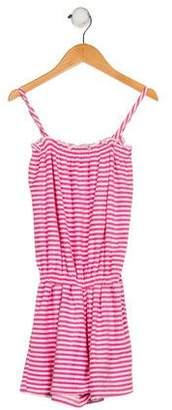 Oscar de la Renta Girls' Striped Sleeveless Romper