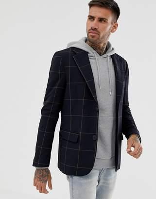 Bershka blazer jacket in navy with check print