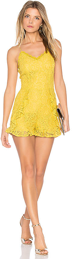 J.O.A. Frill Bottom Detail Lace Romper in Yellow 6