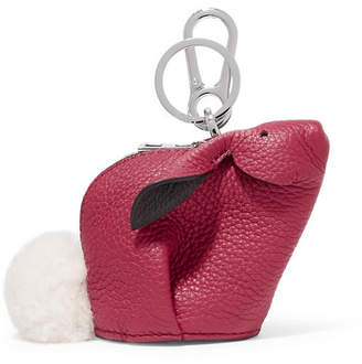 Loewe Bunny Shearling-trimmed Textured-leather Bag Charm - Pink