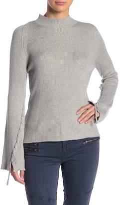 Elan International Mock Neck Braided Sleeve Sweater