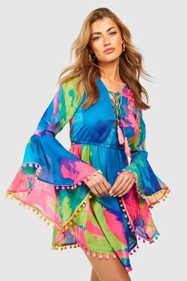 boohoo Tropical Pom Pom Beach Dress
