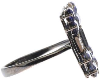Bavna Silver Mosaic Ring with Iolite & Diamonds, Size 6.5