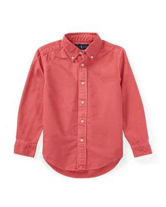 Ralph Lauren Garment-Dye Oxford Button-Down Shirt, Red, Size 5-7
