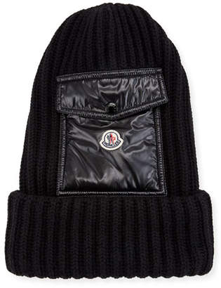 c210e33b839 Moncler Men s Ribbed Beanie Hat w  Flap Pocket
