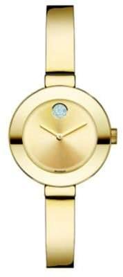 Movado Bold Crystal& Goldtone IP Stainless Steel Bangle Bracelet Watch/25MM