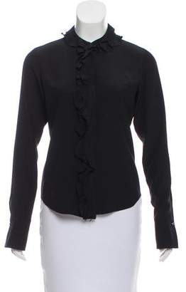 Chanel Ruffle-Trimmed Silk Top