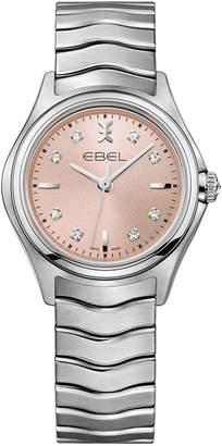 Ebel Wave pink dial diamond set stainless steel bracelet ladies watch