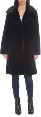 AVEC LES FILLES Notched Faux-Fur Coat
