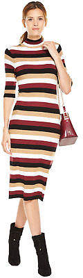 Buy Stripe Turtleneck Midi Dress!