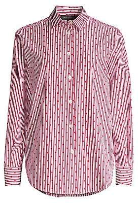Piazza Sempione Women's Pinstripe & Polka-Dot Button-Down Shirt