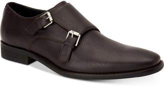 Calvin Klein Men Robbie Tumbled Leather Monk-Strap Loafers Men Shoes