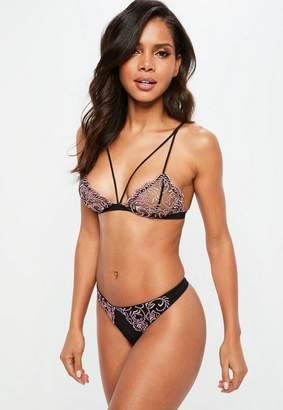 Missguided Black Corded Lace Triangle Bra