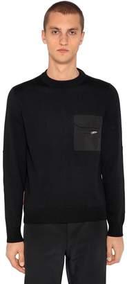 Prada Wool Knit Sweater W/ Nylon Details