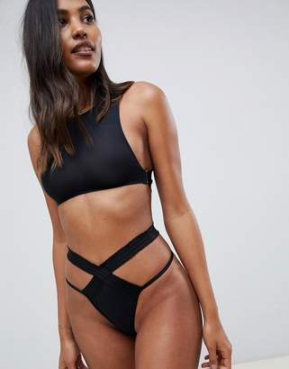 Asos DESIGN ruched elastic and microfibre thong