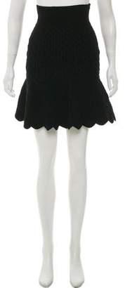 Alexander McQueen Quilted Velour Skirt