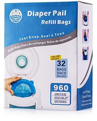 Arm & Hammer Careforbaby Diaper Pail Refill Bags (960 Counts) Fully Compatible with Arm&Hammer Disposal System - 32 Bags