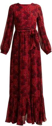 Borgo De Nor - Dianora Orchid And Leopard Print Silk Maxi Dress - Womens - Red Print