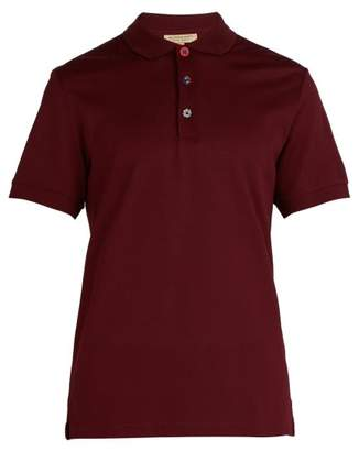 Burberry Painted Button Oxford Cotton Pique Polo Shirt - Mens - Burgundy