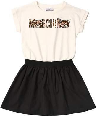 Moschino Leopard & Logo Print Cotton Poplin Dress