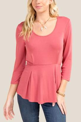 francesca's Samantha Scoop Neck Peplum Top - Rose
