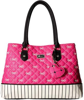 Betsey Johnson Luv Betsey By Bow Quilted Large Carlie Satchel Handbag
