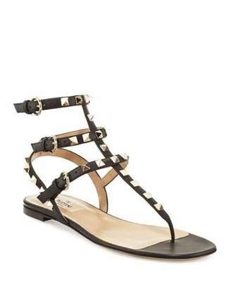 Valentino Rockstud Flat Thong Sandals, Black